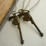 Vintage pistol gun earrings