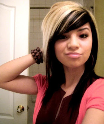 Emo Girls Long Emo Hairstyles with Highlights