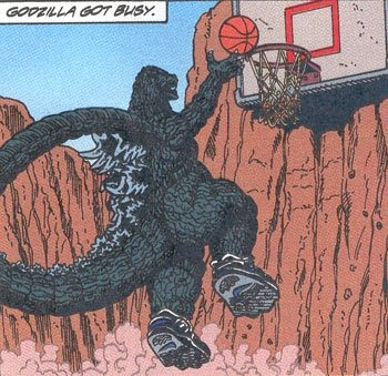 godzilla, comic, basketball, baloncesto