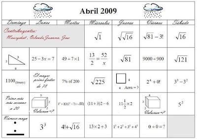 Matematicas Maravillosas: Una buena idea .... Calendario Matemático: