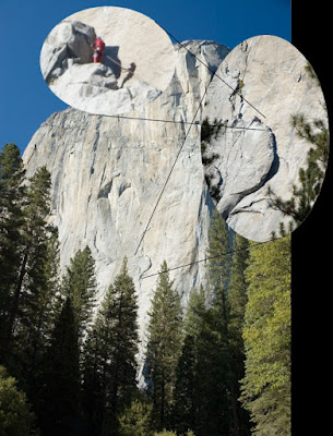 climbers dwarfed by the largets sigle granite monolith in the world