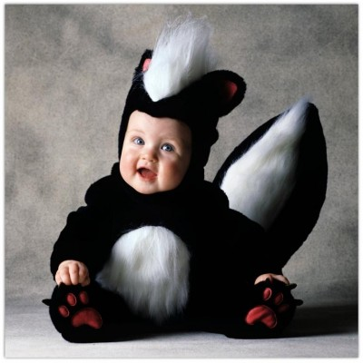 Cute baby like skunk dressing picture
