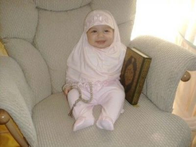 Muslim Baby Girl in White Hijab photo