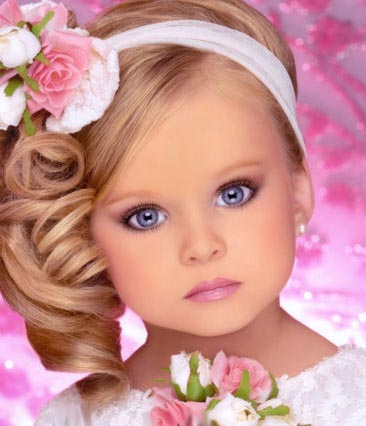Girl Photo on Very Cute Baby Girl With White And Pink Roses In Pink Background