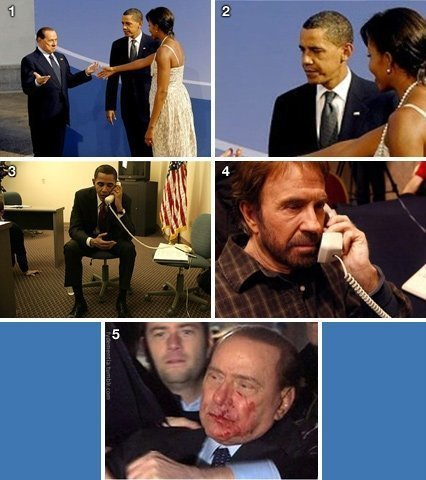 berlusconi ferito chuck norris e obama