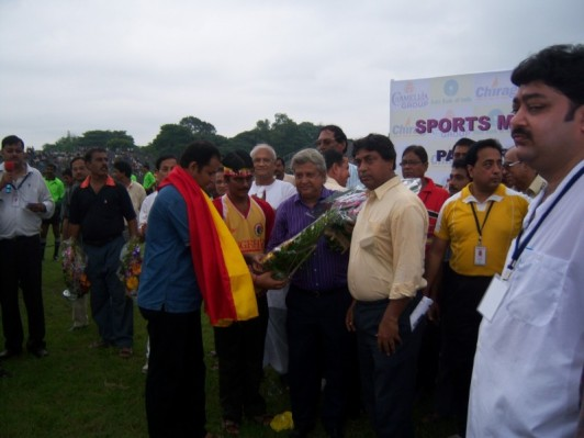EAST BENGAL the Real POWER President greeted Parimal Dey with a flower bouquet
