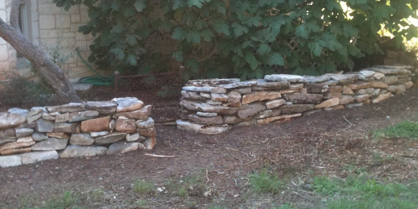 A Texas Hill Country Garden Stone Wall Completed
