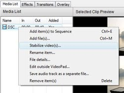 Video stabilization with VideoPad video editing software