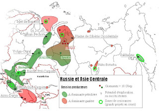 Carte des bassins d'énergies fossiles en Russie