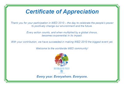 Certificado UNEP - WED 2010