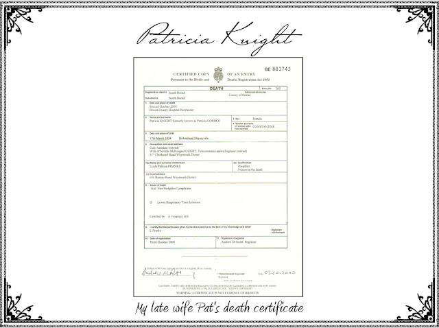 My mother's Death Certificate