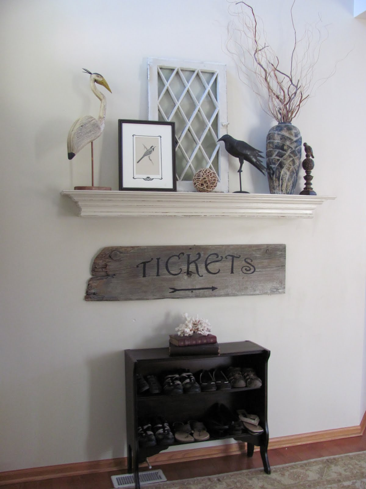 Bright home diy mantel but no fireplace for Fireplace no mantle