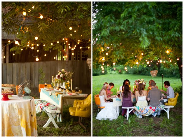 Fairy Lights Outdoor Weddings : CHALK & TALK Wednesday Wedding  Country Casual