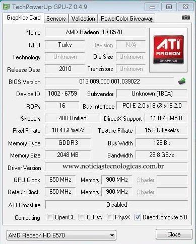 AMD Radeon HD6570 GPU-Z