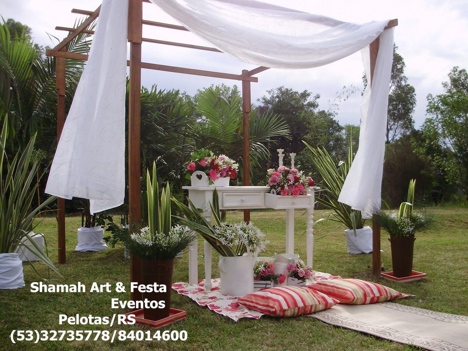 decoracao para casamento em sitio:cerimonial,decoração e buffet: Shamah Art & Festa Eventos, Pelotas