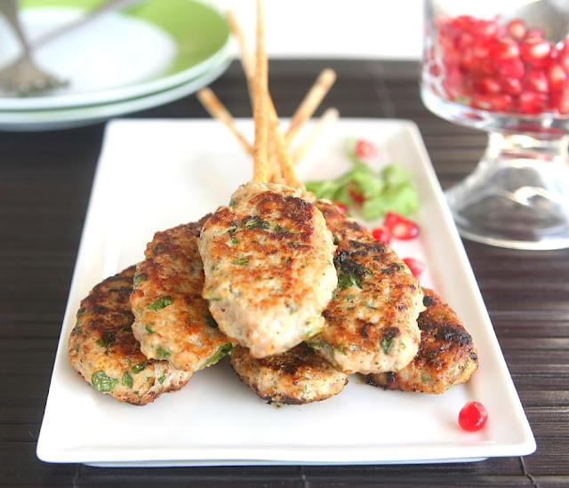 Coriander Chicken Kebabs & Pomegranate Pistachio Salad - Geez Louise!