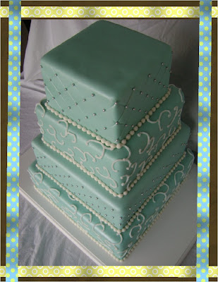 Tiffany Blue 4 tier wedding cake