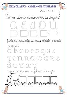 Atividade Vogais  - Letra Cursiva