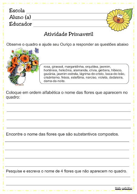 Atividade Primavera Ordem Alfabética Substantivos Compostos 2° Ano