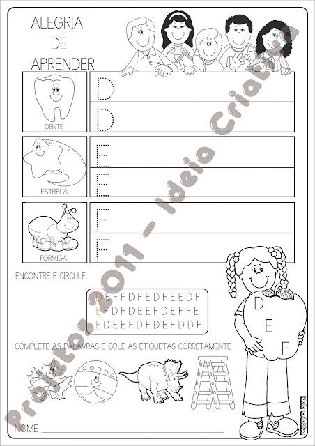 Caderno De atividades Educativas Alegria de aprender letra pontilhada