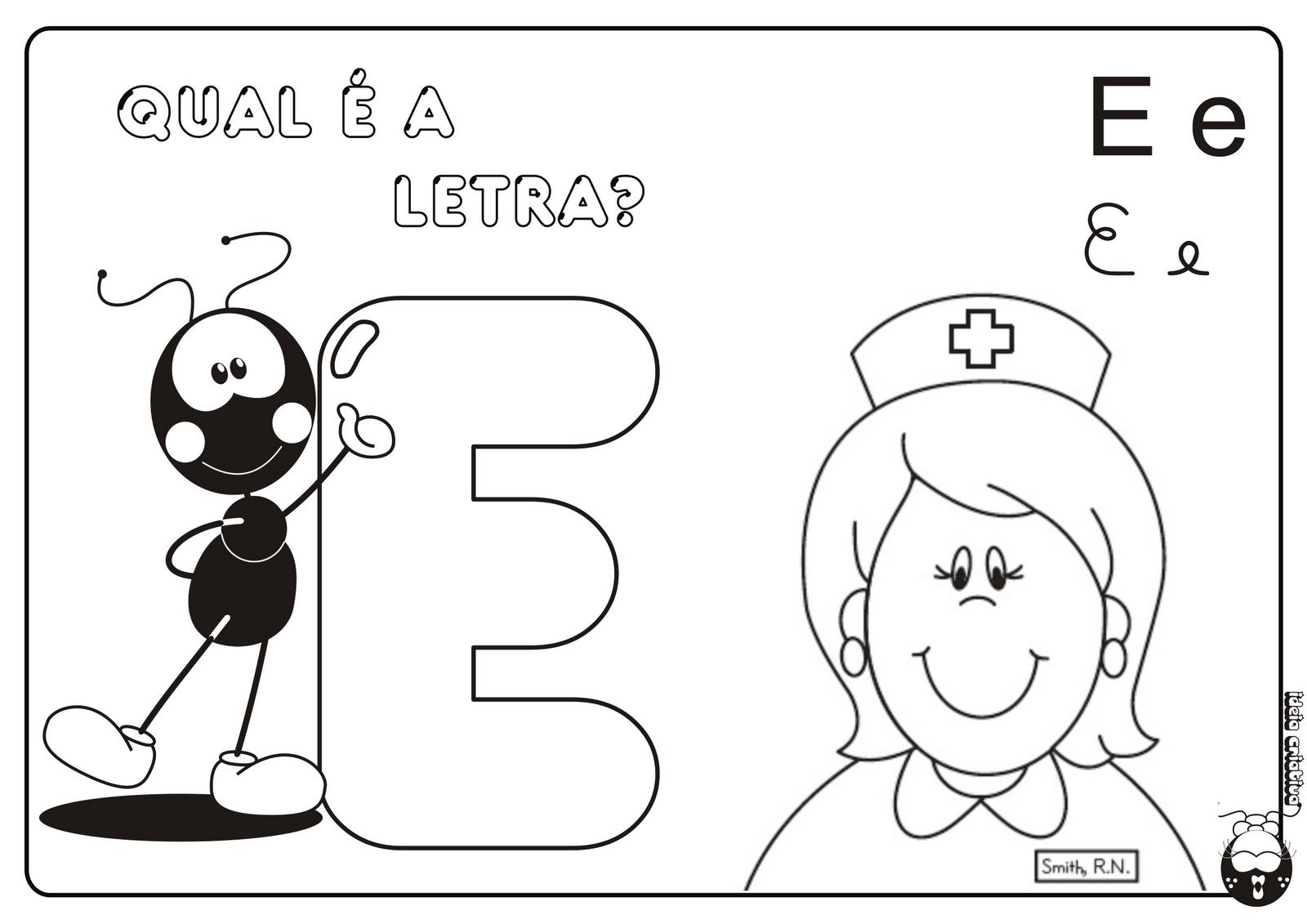Alfabeto Smilinguido 4 tipos de letra para Baixar Grátis Letra E