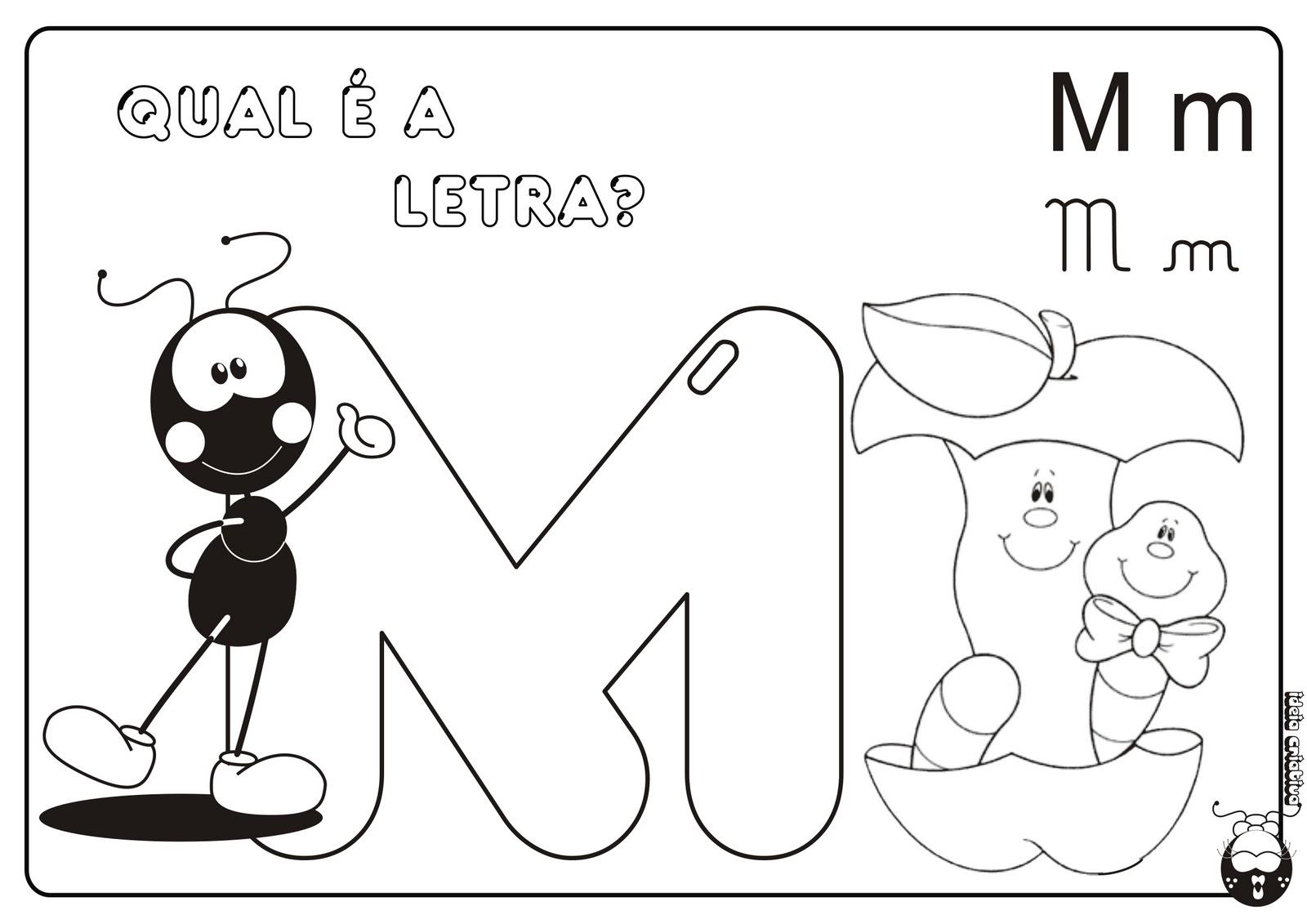 Alfabeto Smilinguido 4 tipos de letra para Baixar Grátis Letra M