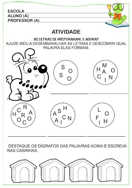 Atividade Dígrafos Letras Misturadas e Formação de Palavras