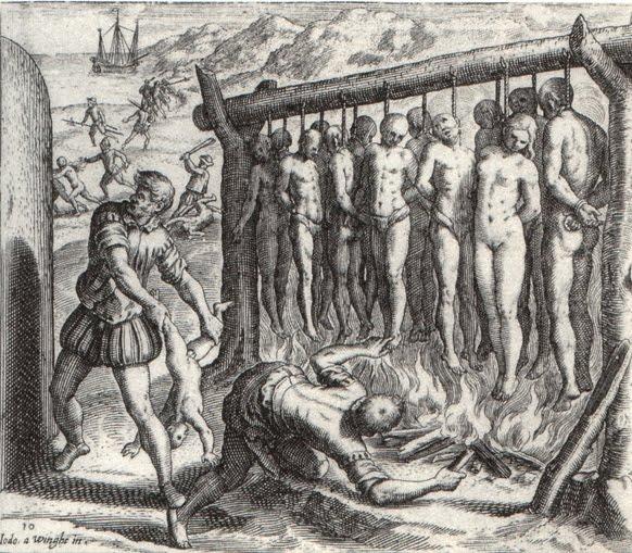La llegada de los españoles, según el fraile Bernardino de