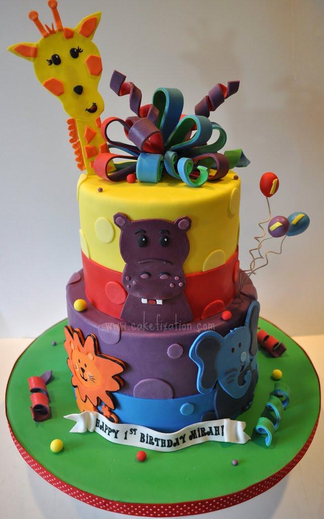 Free Cake Info Safari Friends First Birthday Cake