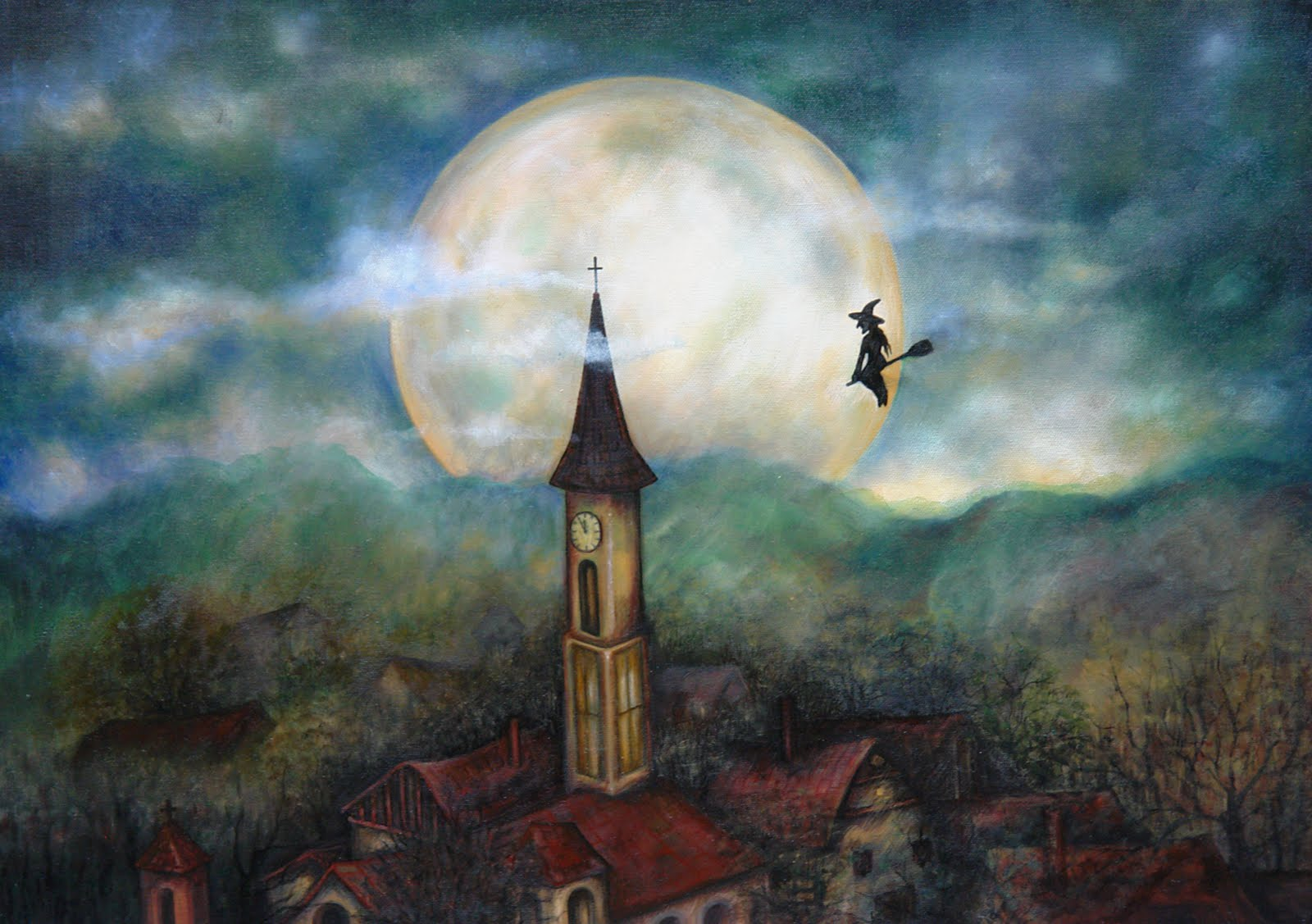 Oil painting fly to the moon