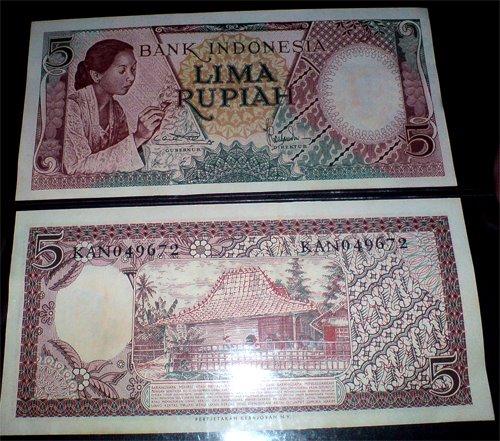 seri pekerja tangan 5 rupiah tahun 1958