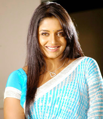 Vimala Raman in Blue Saree, Smiling beauty Vimala Raman