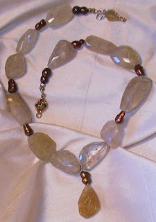 rutilated quartz, pearl and sterling silver