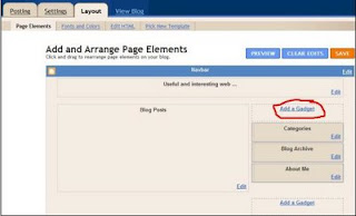 Add a page element on blogger