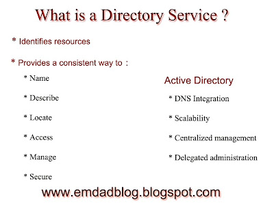 A directory service is a network service that identifies all resources on a network and makes that information available to users and applications