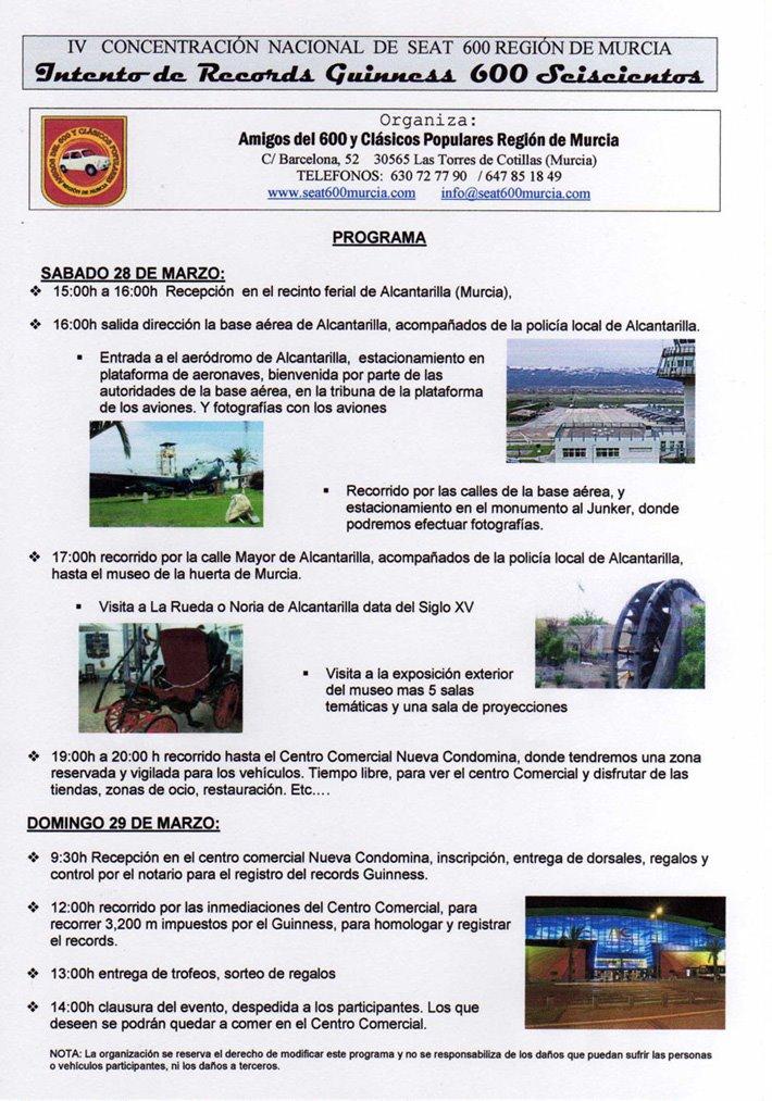 PROGRAMA INTENTO RECORD GUINNESS 600 SEISCIENTOS EN  MURCIA 28-29 MARZO 2009