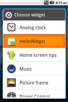 Choose the widget to add