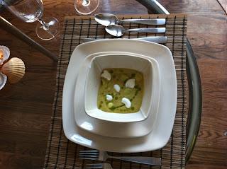 Cold Avocado Corn Soup with Cilantro Oil