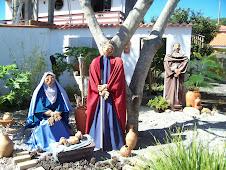 Presépio de  cerâmica e São Francisco de Assis