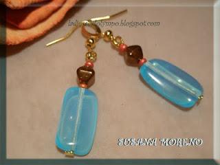 pendientes de perlas teja azul