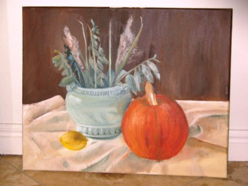 pumpkin still life oil painting