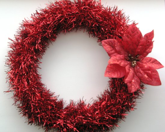 tinsel christmas wreath