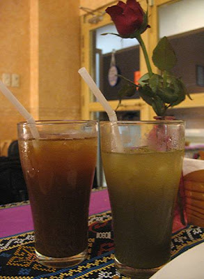 tamarind iced tea and sugarcane juice