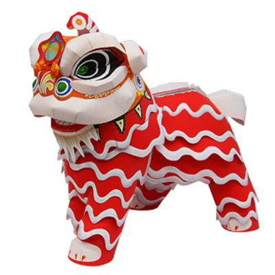 lion dance paper toy