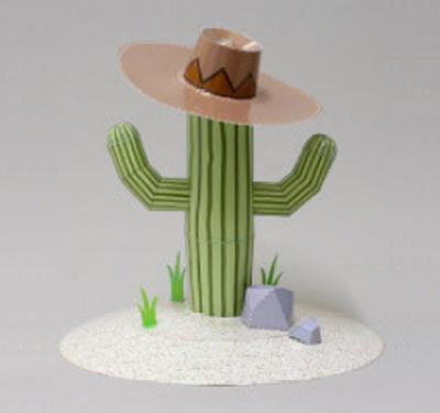 Cactus plant paper model