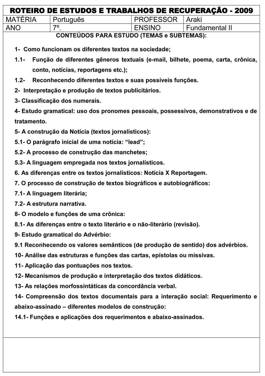 MAT  RIAS E ATIVIDADES DE RECUPERA    O FINAL   PORTUGU  S 7   ANO