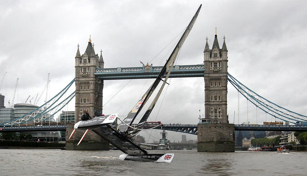 Ben Ainslie with the JP Morgan Extreme 40 sailing team sail the Extreme 40 ...