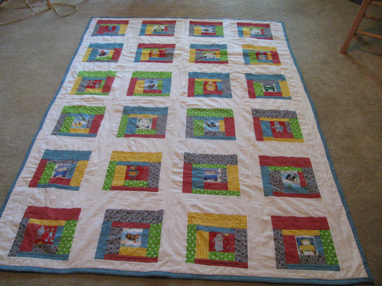 A whoopdedoo life custom robot quilt for Robot quilt fabric