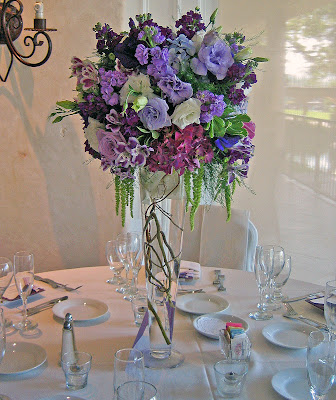 Westlake Village Inn Wedding Lavender and Plum Spring Flowers