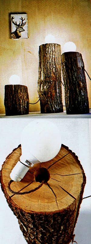 Idee Regalo fai da te: Lampade originali: costruite sui tronchi